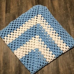 Other - Handmade Blue and white Crochet baby blanket